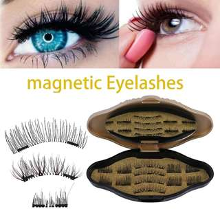 (PO)6 Pairs/12pcs Magnetic Eyelashes Eye Makeup Kit 3D Magnet False Eye Lashes..(Ai)..