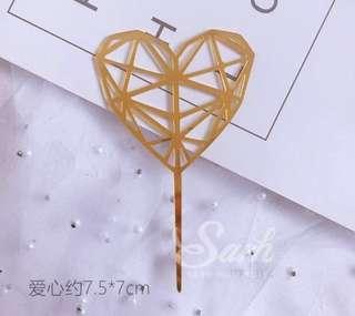 Gold Heart Cake Topper