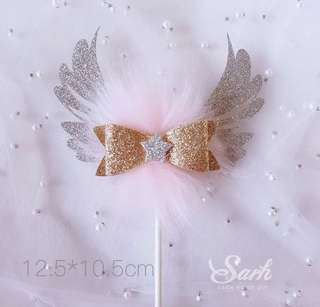 Sweet Pink Winged Cake Topper