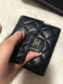 Chanel Cc Designer Lambskin Quilted silver hardware leather wallet purse coin bifold trifold black