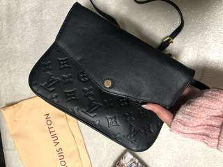 Louis Vuitton LV monogram black empriente leather lamb calf smooth monogram designer twin set pocket side satchel tote handbag bag