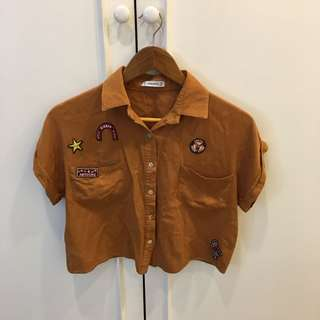 Zara inspired tan shirt with patches