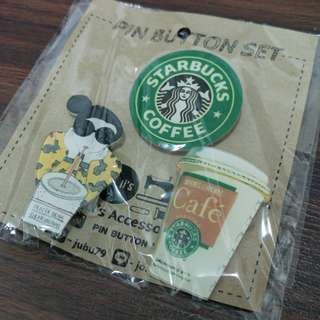 🚚 Starbucks Pin Button Set