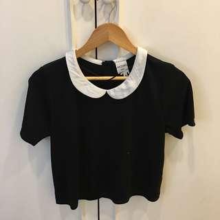 Monki black top with peter pan collar