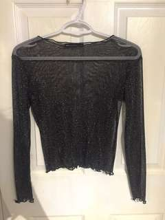 Brandy Melville Mesh / Sheer Sparkly Top - One Size