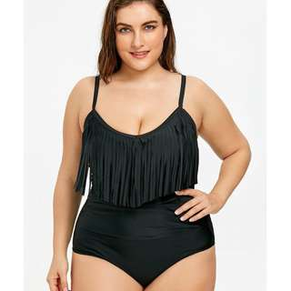 Plus Size Fringed One Piece Swimsuit