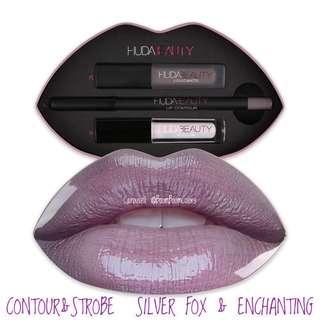 🚚 Huda Beauty Lip Strobe Contour Set + Lip Casing. MUSE & ANGELIC