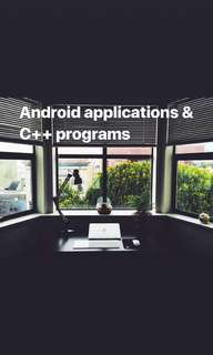 Android applications and c++ programs development.