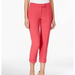 Anne Klein Womens Pink Slim Cuffed Flat Front Cropped Pants US10 - NWT