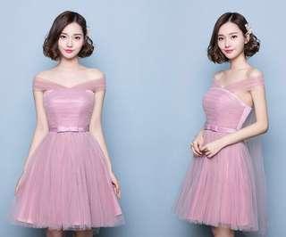 🚚 現貨*粉紗裙短伴娘禮服洋裝