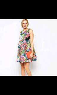 NWT ASOS Maternity Exclusive Scuba Skater Dress In Bright Florals