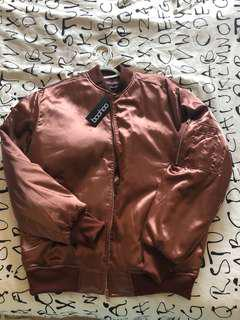 Satin rose gold bomber size small