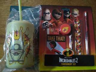 StarWars drinking cup & Incredibles + VivoCity kids club stationery sets