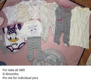 Baby clothes 0-6months for take all
