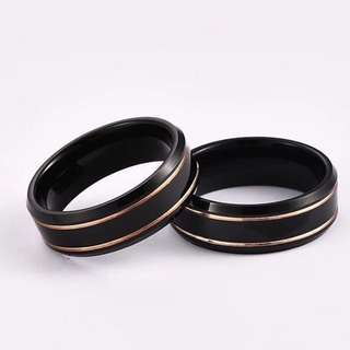 Tungsten Carbide Ring - Twin Rose Gold Stripes Black Edition