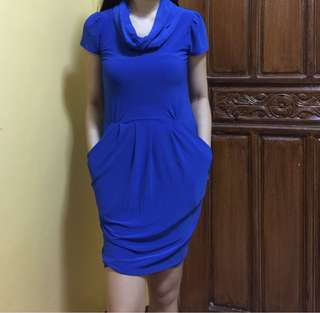 Blue fitted Karimadon office dress
