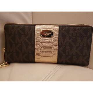 MICHAEL KORS MK CENTER STRIPE Continental BROWN Gold Zip-around wallet