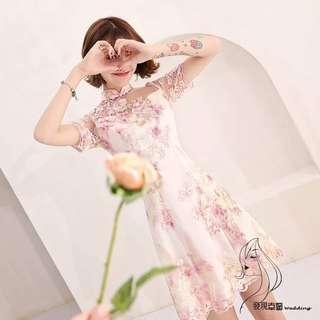 (◕‿◕)2018新款改良版旗袍清新淡雅連衣裙