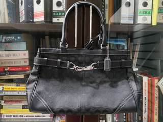 COACH Signature Hampton Black Leather Trim Large Carryall Satchel tote Bag 8K07