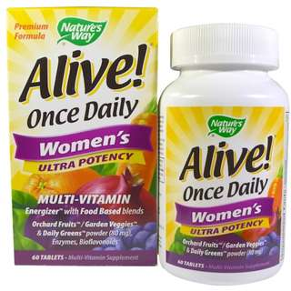 Nature's Way, Alive! Once Daily Women's Ultra Potency Multi-Vitamin 60 Tablets