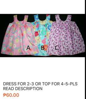 Approx 2 yo dresses or top for 4-5
