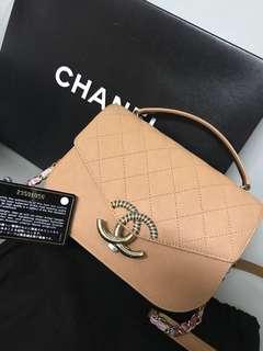 Chanel vintage flag bag (粉橙色荔枝皮)100%真有單