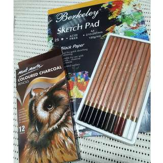TAKE ALL: Mont Marte Colored Charcoal Pencils and Berkeley Black Sketch Pad