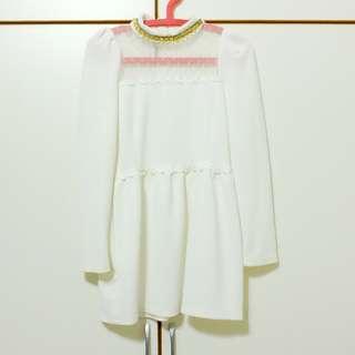 🚚 韓系領口綴飾洋裝