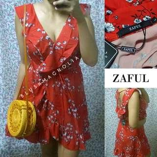 ZafulOverlap Ruffle Belted Dress