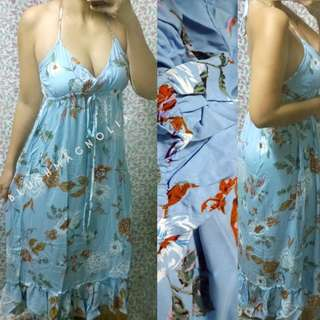 Zaful Skyblue Ruffled Halter Maxi Dress