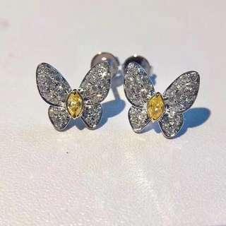 黃鑽白鑽蝴蝶耳環,主石共20份,只售6800