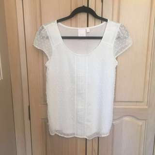 LC Lauren Conrad White Tshirt with Front and Cap sleeve details