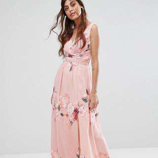 BNWT Light Pink Little Mistress Plunge Front Maxi Dress In Floral Print