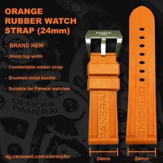 BRAND NEW Orange Rubber Silicon Soft Strap 24mm for Panerai