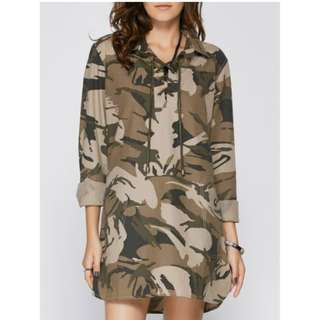 Long Sleeve Lace Up Camo Long Tunic Shirt Dress - Camouflage (L)