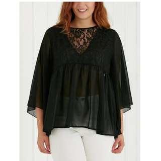 Plus Size Lace Spliced See-Through Blouse - Black 2xl