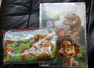 The good dinosaur筆袋,貼紙簿