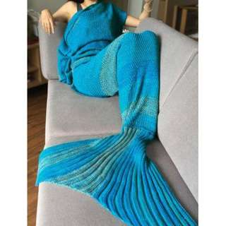 Blue Knitted Sleep Cell Mermaid Blanket - Blue One Size (fit Size Xs To M)