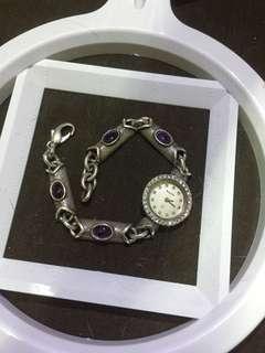 20cm bulova silver 925 银水晶手表 working