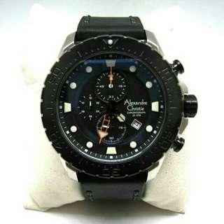 Jam Tangan Alexandre Christie Pria AC 6412 Silver Black Original Special Edition Diver Water Resistant 200 M