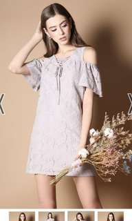 tsw stelli cold shoulder lace up dress in light grey