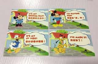 迪士尼園內限量貼紙set一套四張