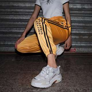 Streetwear Sweatpants Femme With Stripes Patchwork Retro Letter Printed