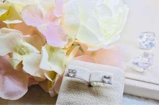 18K 750白金鑽石耳環