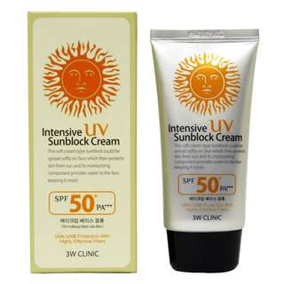 3W CLINIC UV INTENSIVE SUNBLOCK CREAM SPF50 70G.