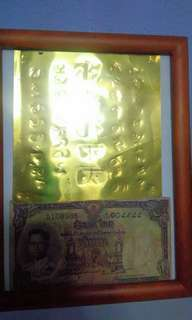 Kruba Baeng Wealth Fetching yants and old Thai note.