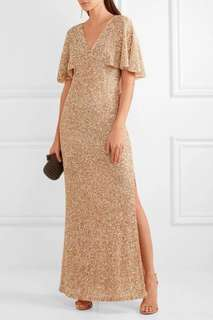 Alice & Olivia Champagne Gold Sparkly Sequin Pearl Embellished Evening Gown Maxi Dress