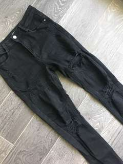 MISSGUIDED SIZE 2 BLACK DENIM RIPPED/DISTRESSED JEANS