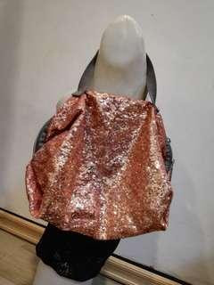 Le Sports Rosegold Sequined Handbag