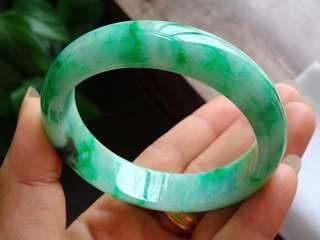 天然翡翠手鐲58.1圈起光老坑飄陽綠正圈手鐲